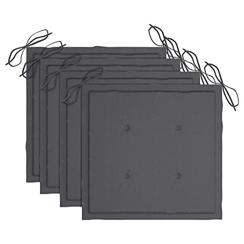 vidaXL 4X Cuscini per Sedie da Giardino Eleganti Morbidi Resistenti Arredi per Esterni Tessili Decorativi Antracite 50x50x4 cm in Tessuto Poliestere