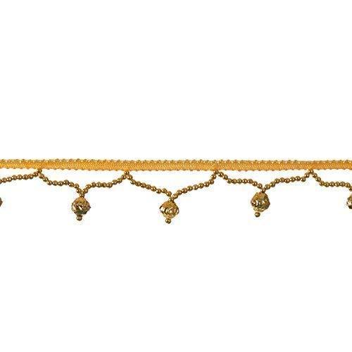 Trimming Shop 2m X 3cm Elfenbein Franse Spitze Rand Rand mit Designer Silber Perlen Perle - Borte Scrapbooking Applikation Embellishment- Vintage Stil für Hochzeit und Damen Bräutlich Kleider - Gold