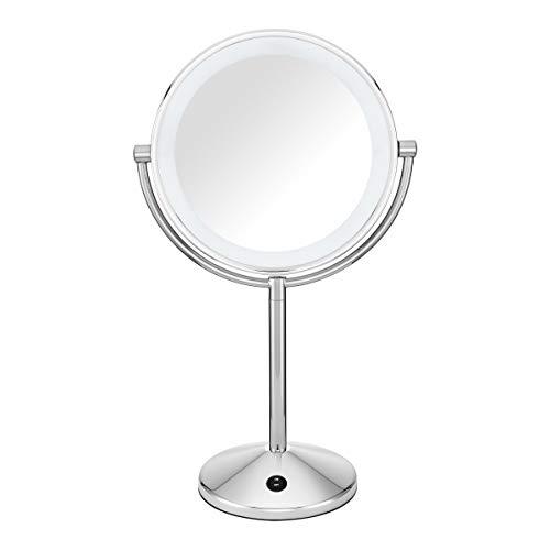 Conair Espelho de maquiagem refletions de dupla face com iluminação de LED, ampliação de 1x/10x, acabamento cromado polido
