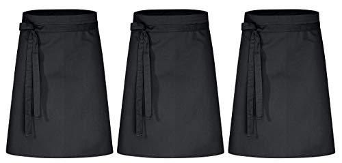 DESERMO 3er Set Premium Vorbinder 60cm x 80cm (L X B) ✓ Hochwertige Taillen-Schürze für Frau & Mann ✓ Innovative Mischung aus Baumwolle & Polyester ✓ Große Farbauswahl ✓ 220g/m² (Schwarz)