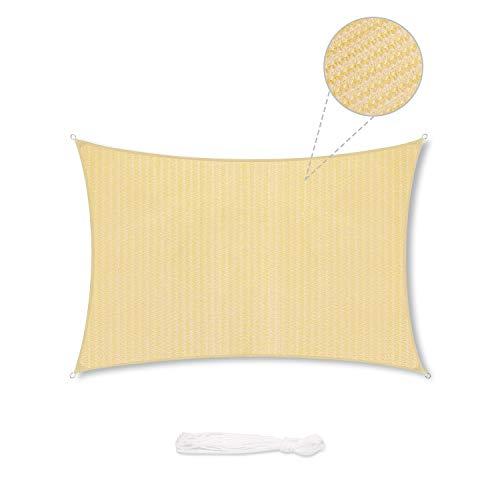 Sekey Toldo Vela de Sombra Rectangular HDPE Protección Rayos UV Resistente Permeable Transpirable para Patio, Exteriores, Jardín, con Cuerda, Beige 4×6m