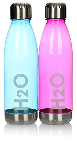 com-four® 2X Botella de Agua Hecha de plástico - Botella de Agua Ligera para Deportes, Escuela, Universidad y Ocio, con Tapa de Rosca y Fondo de Acero Inoxidable (Violeta + Azul)