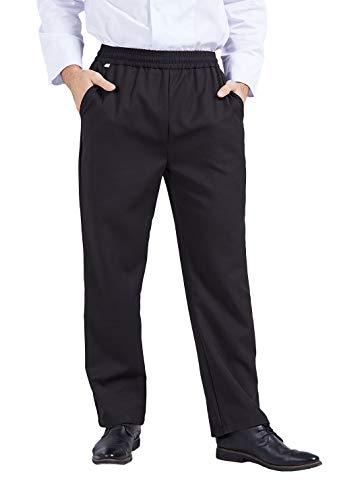 Nanxson Professionali Pantalone Cuoco Uomo Cotone Pantaloni da Chef Elastico Pantaloni da Lavoro CFM2004 (M, Nero)
