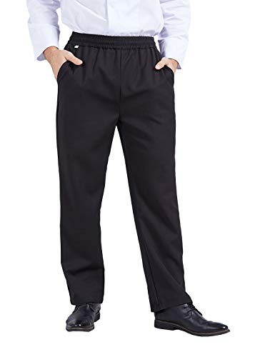 Nanxson Pantalon de Cuisinier Unisexe Tour de Taille Extensible Élastique pour Restauration Hôtel Cantine CFM2008 (Noir, Tour de Taille 70-91cm)