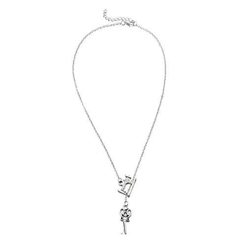 N-K PULABO - Collar con colgante de máquina de coser para mujer, cadena de abalorios para fiesta, joyería de plata