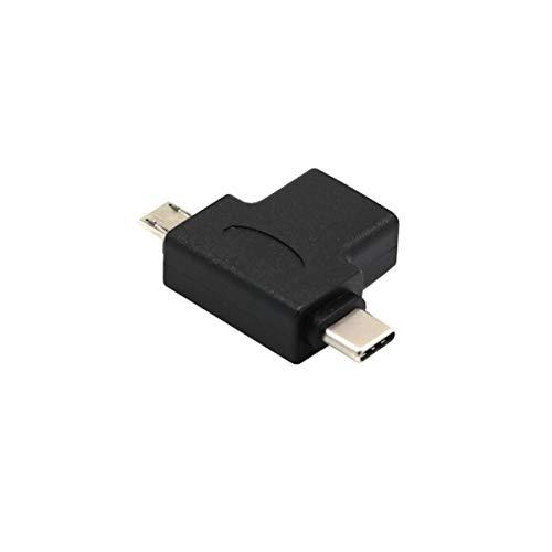 Gobutevphver Adaptador OTG Macho USB 3.0 Hembra a Micro USB de 5 Pines Macho y Tipo C (USB C) Macho - Negro