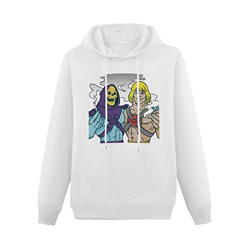 Cool Sweaters for Teenagers He Man Skeletor Funny Parody Weed Cannabis Smoking Hip-hop Pullovers White XXL