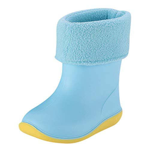 Children Boys Girls PVC Rain Boots Waterproof Non-Slip Shoes Teen Rain Shoes Galoshes for 1-10 Years Old (18-24 Months, Blue)