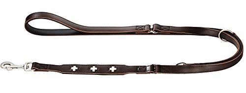 HUNTER Swiss Verstellbare Führleine für Hunde, Leder, hochwertig, schweizer Kreuz, 1,8/200 cm, braun