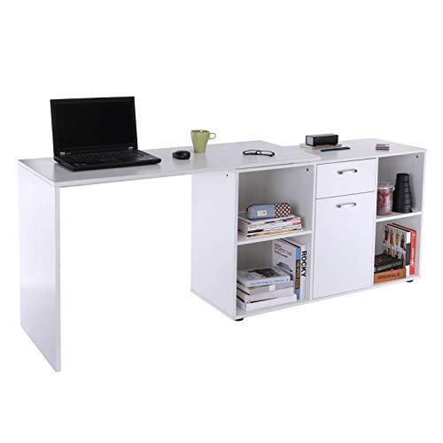 Yhjkvl Escritorio de ordenador de doble uso ajustable en forma de L, mesa blanca para oficina en casa