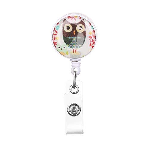 shihao159 1 st Fashion ID Naam Kaart Clip Anti-Verloren Clip Stationery Intrekbare Uil Patroon Badge Houder 360 graden Rotatie 3