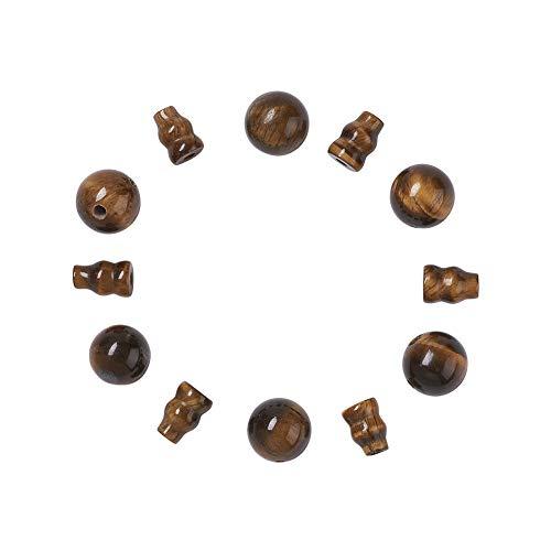 Cheriswelry 10 juegos de cuentas de gurú budista de ojo de tigre natural, perforadas en T, cuentas sueltas de 3 vías, Buddha Mala, cono de oración, tapas para hacer joyas