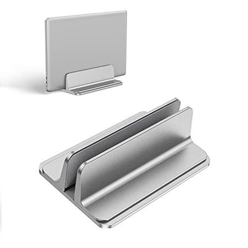 Kallrra Soporte Portatil Vertical, Soporte Tablet Aluminio con Base Ajustable Laptop Stand, Soporte para Portatil Compatible con MacBook Pro/Air, iPad, Huawei, HP, DELL, Netbooks, Lenovo, Plata