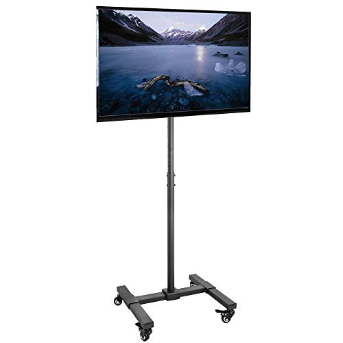 VIVO Mobile TV Display Stand for 13 to 42 inch LED LCD Flat Panel Screens, Rolling Floor Stand Height Adjustable Mount with Wheels STAND-TV07W