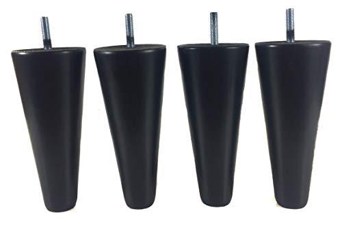 pack de 4 patas de madera para muebles de 15 alto diferentes colores pies de repuesto para sofás armarios mesas sillones somier (Negro)