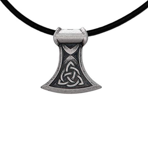 Herrenanhänger Mittelalter Axt -Keltischer Knoten Anhänger 925 Sterling-Silber für Herren Mit Lederband - Länge 45 cm.