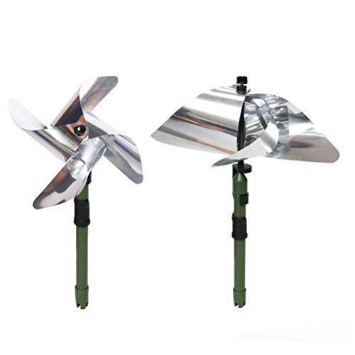 Qhome Pinwheels Bird Repellent, Repellent Reflective Windmill, Effective Radium Spinners Whirl Sparkly Silver Holographic Pinwheels Decor to Protect Garden/Orchard/Yard/Lawn