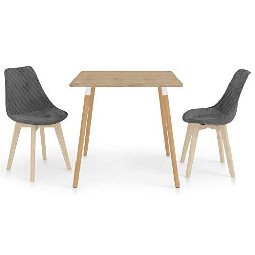 vidaXL Essgruppe 3-TLG. Esszimmergruppe Esszimmergarnitur Tischset Sitzgruppe Esstischset Küchentisch Esszimmertisch Esstisch mit 2 Stühlen Grau