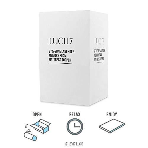 LUCID 2-Inch 5 Zone Lavender Memory Foam Mattress Topper