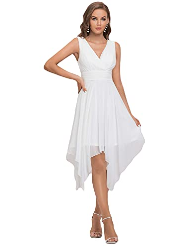 Ever-Pretty Womens A-line Pleated Deep V Neck Chiffon Evening Party Gowns White US10