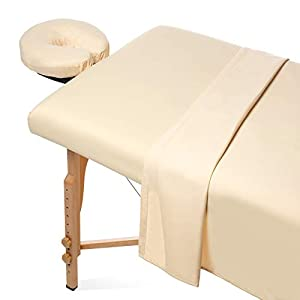 Saloniture 3-Piece Microfiber Massage Table Sheet Set - Premium Facial Bed Cover - Includes Flat and Fitted Sheets with Face Cradle Cover - Natural