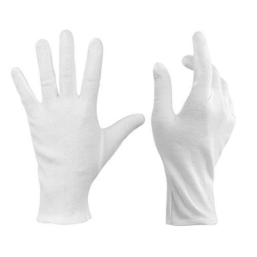 Baumwollhandschuhe,12 Paar Baumwolle Handschuhe,Care Schutzhandschuhe,Weiße Stoff Handschuhe,Bequem und Atmungsaktiv Arbeitshandschuhe für Hautpflege, Schmuck Untersuchen, Tägliche Arbeit