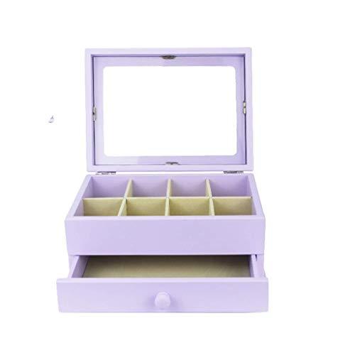 ZXL Organisateur cosmétique Boîte de Rangement de Bijoux en Bois Vintage Chinois Cadeau de fête à Double Couche Arrangement Festival 6 Couleurs (Couleur: A)
