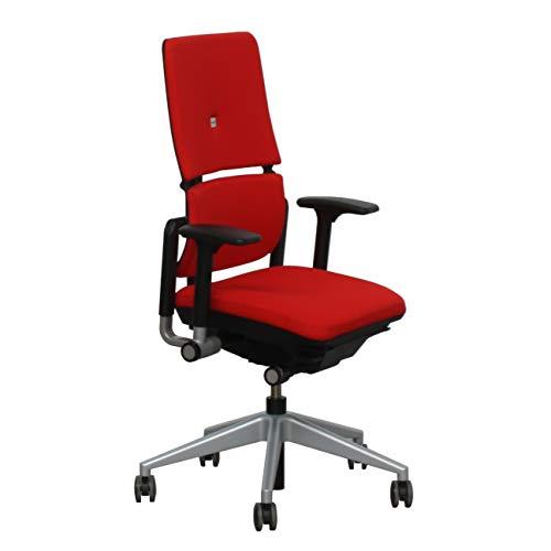Silla de Oficina Ergonomica Please II de Steelcase, Tapizado en tela roja, Regulación de la altura del Respaldo y Asiento, Desplazamiento en profundidad del asiento, ajuste de tensión lumbar.