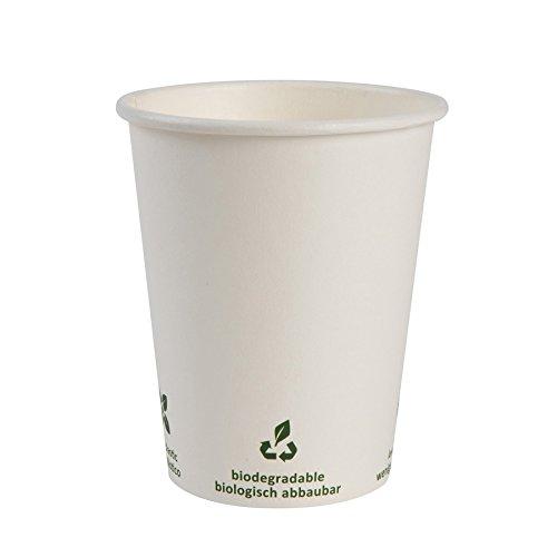 BIOZOYG Bio Kaffeebecher Pappe I Kompostierbares und biologisch abbaubares Geschirr I Trinkgefäß Kartonbecher I Einweg Kaffeebecher weiß mit Icondruck 1000 Stück 200ml 8 oz