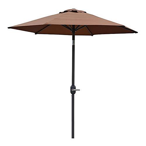 Gartenschirm,2,5 M Kippbarer Sonnenschirm Mit 6 Rippen,sechseckiger Strandschirm Für Pavillon Im Freien, Terrasse, Balkon, Braun, Schwarz