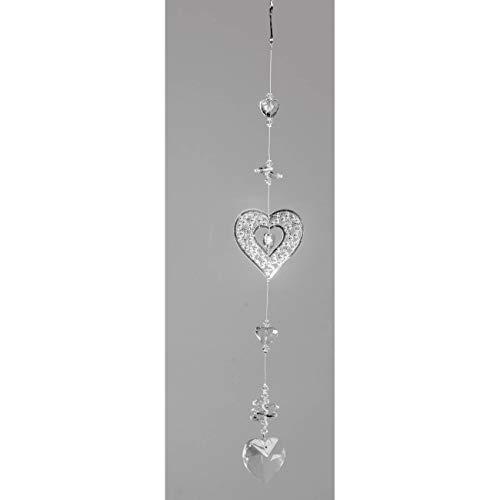 formano Deko Hänger, Girlande Herzen L. 35cm Metall + Kristallglas