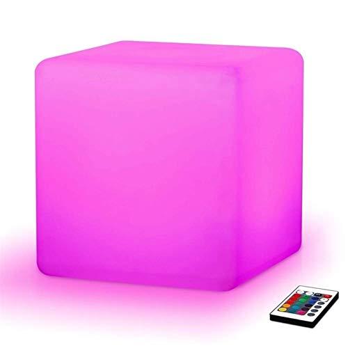 Paddia Cuadrado LED Cube Taburete Silla Asiento Mesa Luz Lámpara de pie Ajustable 16 colores RGB Recargable con control remoto, Lámpara de noche de Navidad Mood para niños, Hogar, Jardín, Decoración d