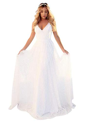OSEMALL White Long Floral Lace Stylish Wedding Dress for Women,Sexy Backless Dress for Formal Prom,Party,Beach,Bridesmaid(S)