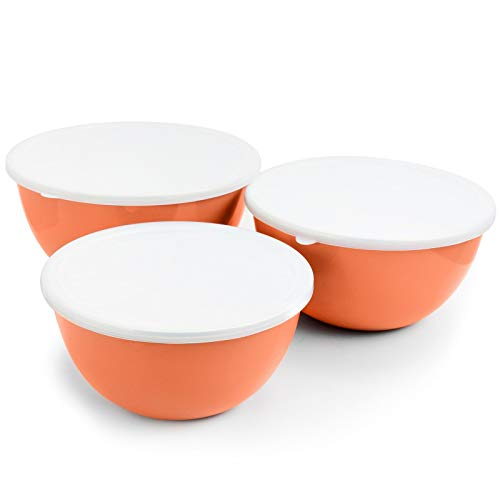 UKN 3 Piece Nesting Mixing Bowl Set in Coral Pink Steel