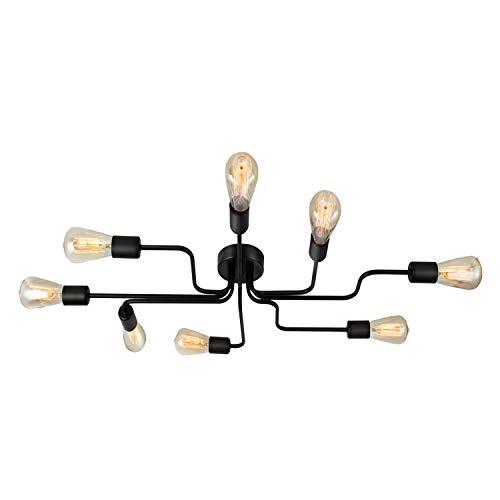 ENCOFT Vintage Lampadario Industriale Lampada a Sospensione 8 Luci Base E27 Lampada da Soffitto Soggiorno Camera da Letto, Nero Senza Lampadina