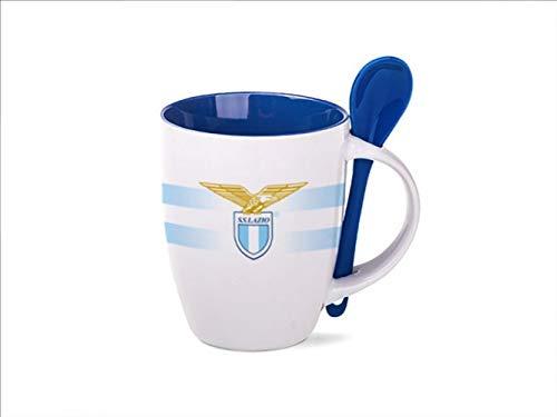 SS Lazio - Taza de cerámica con águila con cucharilla para desayuno, color blanco y azul
