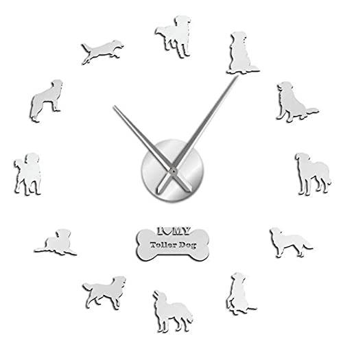 Reloj de Pared silencioso 3D sin Marco DIY Reloj de Pared Perro Autoadhesivo Reloj de Pared 3D DIY con Superficie de Espejo-Silver_37_Inch