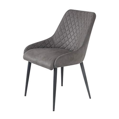 Damiware Bella Stuhl | Design Wohnzimmerstuhl Esszimmerstuhle Bürostuhl mit Stoffbezug | (Stone)