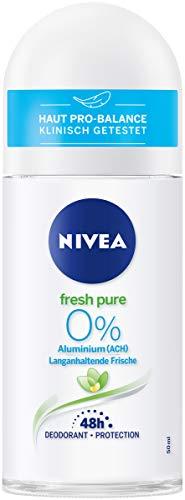 NIVEA Fresh Pure Deo Roll On (50 ml), erfrischender Deo Roller ohne Aluminium (ACH), 48h Deodorant mit antibakteriellem Schutz, pflegt die Haut
