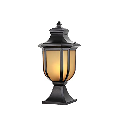 SDFDSSR Impermeable y a Prueba de Herrumbre Luz de Pilar para Exteriores Luces de Estilo Chino para decoración de jardín Pilar Exterior Linterna Lámpara de pie para Valla Villa Balcón Lámpara