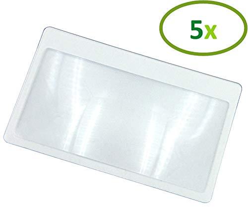 Thorani Taschenlupe im Kreditkartenformat I Kartenlupe I Lupe mit 3-facher Vergrößerung, ultra dünn, biegsam und bruchsicher - 5 Stück