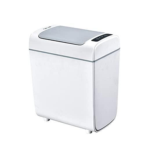 KANGLE-DERI Recargable Inteligente Sensor Automático Bote De Basura Tapa Abatible Impermeable Cocina Dormitorio Baño Papelera, Clasificación De Desechos Domésticos,Gris