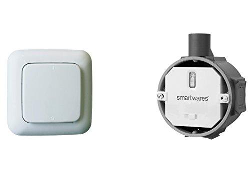 Funk Schalter Set - Funk-Einbauschalter + Funk-Wandschalter, für Leuchten und Geräte bis max. 1000W