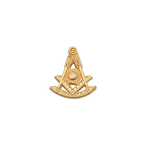 Past Master with Square & Protractor Masonic Lapel Pin - [Gold][5/8'' Tall]