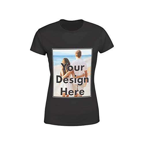 AROKAN Customize Shirts for Women Custom T Shirts Design Your Own Crew Neck Womens Personalized Tshirts, Black