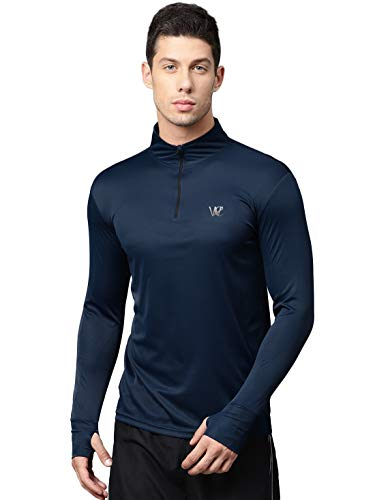 WC RIGHT Men's Slim Fit T-Shirt (MENS-NAVY-THUMBCUT-ZIPPER-TSHIRT-01-L_Blue_Large)