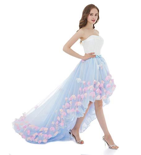 LuckyShe Damen Abendkleider Hinten Lang Vorne Kurz Prinzessin Ballkleid Hellblau Größe 38