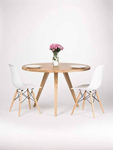 Runder Esstisch, großer Küchentisch aus massivem Eichenholz, Skandinavischer Tisch