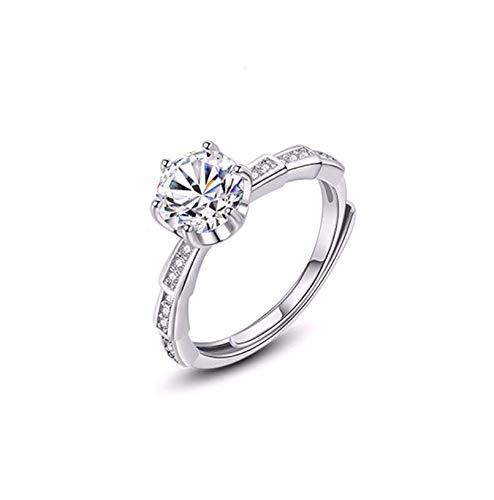 Anillo de diamante Moissan de 1 quilate, plata de ley, anillo de compromiso Moissan con diamantes