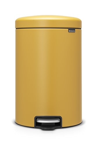 Brabantia newIcon Treteimer 20 L Sense of Luxury, Edelstahl, mineral mustard gelb, 20 Liter